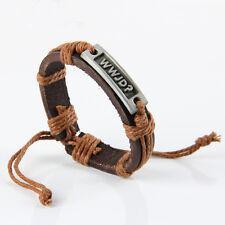 1x Leather bracelet with Jesus Christ What Would Jesus Do WWJD Cool Boy Nice SDG