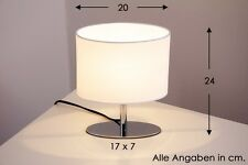 Lampada da tavolo metallo cromo tessuto bianco lampada da comodino bajour 79209