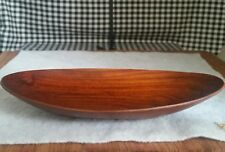 Lightweight Wood Trinket Dish, Spoon Rest, Oval Shallow Bowl, Dark Brown, Bahari