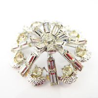 Rhinestone Starburst Brooch Hollywood Vintage Sparkly Lapel Pin