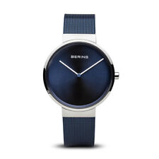 BERING Classic Polished Silver Blue Mesh Band Unisex Watch 14539-307