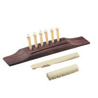 Acoustic Guitar Bridge with 6 Pcs Bridge Pins 1 Pc Saddle and 1 Pc Nut