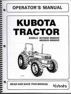 Kubota M5700HD M6800HD M8200HD M9000HD Tractor Op Manual + LOADER
