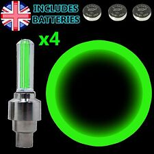 4x GREEN Flash LED Neon Light Lamp Car Bike Bicycle Wheel Tire Valve Dust Cap
