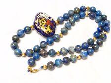 Vintage 14K Gold Natural Lapis Beads Necklace Cloisonne Pendant