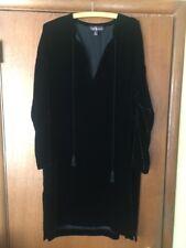 Ralph Lauren Purple Label Black Crushed Velvet Boho Tunic Kaftan Dress SZ 8 USA