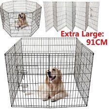 8 Panneaux Grand Puppy Cage porte Parc jouer course Métal enclos Clôtures