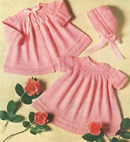 "Pretty Yoked Baby Dress Jacket & Bonnet  18 - 20"" 4 Ply  Knitting Pattern"