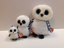 TY SET OF 3 SPELLS WHITE OWL BEANIE BOOS-NEW, MINT TAGS, RETIRED-LOVES TO PLAY