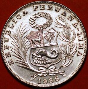1/2 Sol 1935 silver Lima Peru KM#216  F338TO