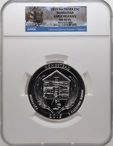 2015 5oz SILVER 25C Homestead NGC MS 69PL Proof like Early Releases must see!
