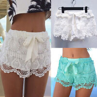 Womens Lace Pants Summer Elastic Waist Lace Crochet Beach Mini Shorts Hot Pants