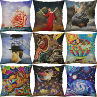 """18"""" Printing cartoon oil painting Cotton Linen pillow case Home Decor Cover"""