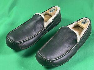 UGG Ascot S/N 5379 Comfort Slippers Dark Brown Leather Men's Size US SZ 11/44.5