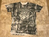 Men's Affliction Live Fast Distressed Style All Over Print T-Shirt Adult Size M