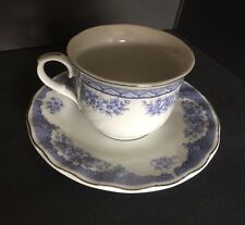 LYNNS FINE CHINA Tea Cup And Saucer Plate BLUE  FLOWERS DESIGN With Silver Trim
