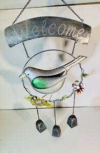 Welcome Wind Chime Hanging Decor Bird Metal Outdoor