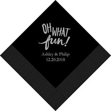 300 Oh What Fun Personalized Printed Wedding Cocktail Napkins