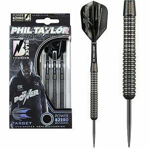 Phil Taylor Power-8ZERO Black Titanium Darts-Available in 21g, 23g & 25g
