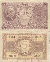 REGNO D'ITALIA 5 LIRE ATENA ELMATA DEC.23 NOVEMBRE 1944 BB+