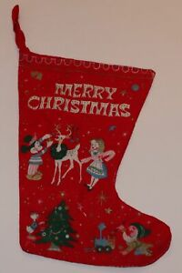 """1950s or 1960s Disney Christmas stocking 15"""" x 10"""" Mickey Mouse Donald Duck tree"""