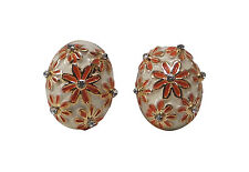 Earrings - 1 Pair - Gold Plated - Red/Gold/White - Flowers - Zirconia