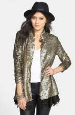 NEW Womens FREE PEOPLE METALLIC SEQUIN LACE STARDUST JACKET BLAZER S SMALL $268