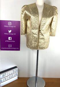 1950s Gold Lame Jewel Detail Ruched Shoulder Jacket Size 14