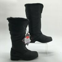 NEW Totes Womens 6M Cynthia Front Zip Slip Resistant Tall Winter Boots Black