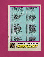 1977-78 TOPPS # 68 UNMARKED CHECKLIST EX-MT CARD (INV#0567)