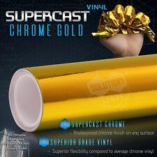 "Gold Supercast Flex Stretch Mirror Chrome Vinyl Wrap Bubble Free - 60"" x 108"" In"