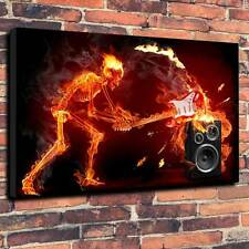 """Fender Stratocaster """"In Flames"""", Printed Box Canvas A1.30""""x20""""~Deep 30mm Frame"""