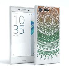 Hülle für Sony Xperia X Compact Schutz Cover Handy Case Motiv Henna Gold / Grün