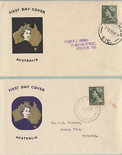 Stamp Australia 3d green QE2 issue on pair Guthrie generic cachet type FDCs