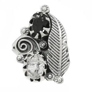 Southwest Design - Black Onyx - Brazil 925 Silver Ring Jewelry s.6.5 BR95956