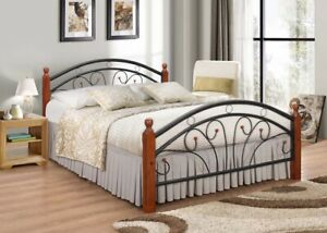 Ps102 Metal Frame Bed with metal Base and Solid Wooden Legs Dirty Oak and White