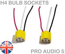 2x H4 Ceramic Light Bulb Socket Holder - 3 Pin Wiring - Car Truck Headlight - UK