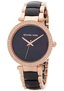 Michael Kors Women's Parker Rose Gold Black Acetate Bracelet Watch MK6414