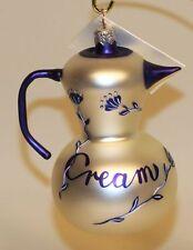 1998 Patricia Breen Glass Christmas Ornament Sweet Cream Creamer Pearl & Blue