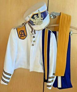 Vintage Marching Band Uniform Purple, White & Gold Jacket Pants Hat