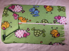 Sheep Duck Turtle Rabbit on Green Fleece Scarf