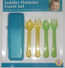 TODDLER FLATWARE TRAVEL SET + Blue Carry Case kids/baby plastic fork spoon 6m+