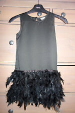 6 yrs La Redoute *NWT!* Black Satin Feather Hem Party Dress STUNNING