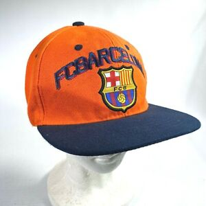 FOOTBALL CLUB BARCELONA Orange embroidered hat cap SPAIN, SPANISH SOCCER CLUB