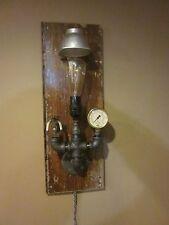Steampunk Industrial art wall Lamp Brass Pressure Gauge valve / sprinkler