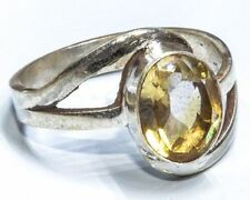 Sterling Silver Traditional Asian Vintage Style Yellow Quartz Ring Size R Gift