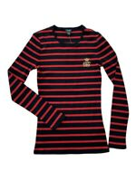 Lauren Ralph-Lauren Womens Long Sleeve Striped Crew Neck Shirt Black/Red New