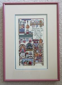 Completed Framed Matted Cross Stitch Country Kitchen w/ Bible Verse Matthew 5:6