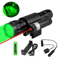 Tactical Green LED Predator Hunting Flashlight Red Dot Laser Sight Scope Mount