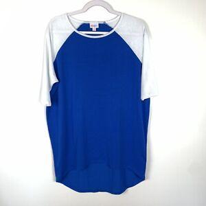 Lularoe Irma   Royal Blue White Sleeves Solid Irma Size XS